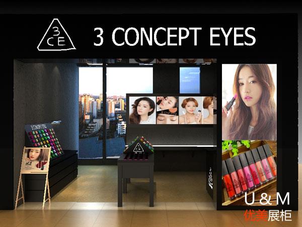 3CE彩妆化妆品展柜
